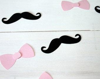 Gender Reveal Confetti- Pink Bow Confetti- Mustache Confetti- Baby Shower Decor