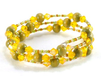 Green, yellow and orange memory wire beaded bracelet Memory wire bracelet Green bracelet Yellow bracelet Orange bracelet Beaded Handmade