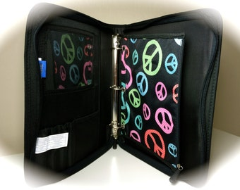 Zip Up Folder Trapper Keeper Black Peace Personalized