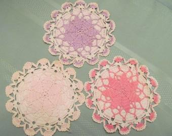 Mid Century Hand Crochet Doilies set of 3