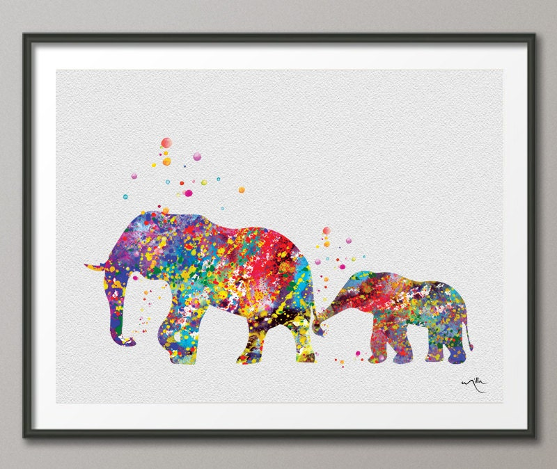 Elephant Family 2 Art Print Watercolor Painting Wedding Gift