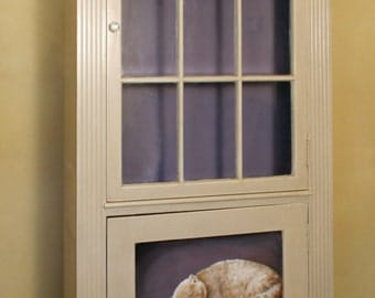 Sold...Painted Furniture. Cat and Mouse Bookcase, hand painted bookcase. Faux finish with decorative painting.