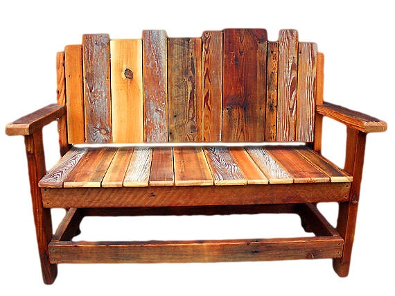 Rustic wood bench reclaimed chair