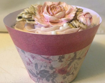 Burgandy Rose Cupcake Wrappers