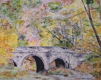 Watercolor painting,art and collectibles,painting of stone bridge,autumn scene,, 10.5x14.5, colorful trees, creek, water,autumn scene