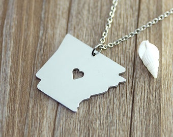 I heart Arkansas Necklace - Arkansas Pendant - State Necklace - State Charm - Map necklace