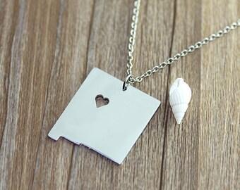 I heart  New Mexico Necklace - New Mexico  Map Pendant - State Necklace - State Charm - Map necklace - Map Jewelry