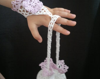 Crochet Flower Girl Accessory Set, Crochet Mittens & Purse, Lilac and White, 100% Cotton.
