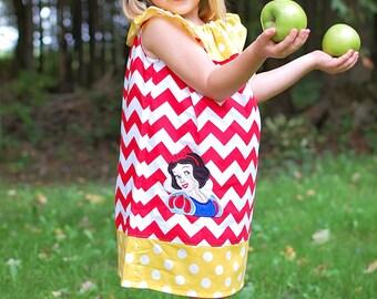 Snow White Dress ,Princess Applique Ruffle Neck Peasant , Sizes 12mo-8