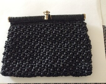 """A """"It's in the Bag"""" Made in Italy for Ritter Black Beaded Clutch"""