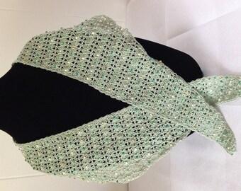 Beaded crochet scarf, woman's lace scarf, green handmade scarf