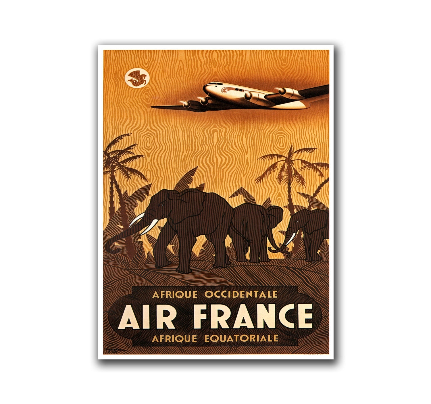 African wall decor travel poster africa safari art retro print for African wall decoration