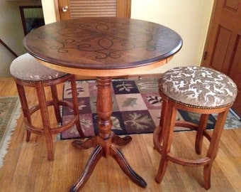 SOLD Bar-Height Pub Table and Two Stools SOLD