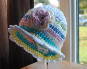 Girls/Pastel Stripe/ Toddler Hat/ Spring hat/ Easter