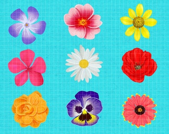 Realistic Illustrated Spring Flowers Digital Clip Art for Scrap-booking and Paper Craft