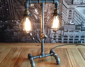 MADE TO ORDER**  Steampunk Vintage Industrial Two Cage Pipe Lamp