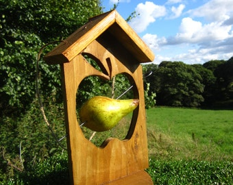Apple cut out fruit bird feeder
