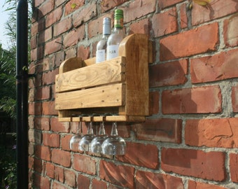 Rustic wine rack from reclaimed wood.