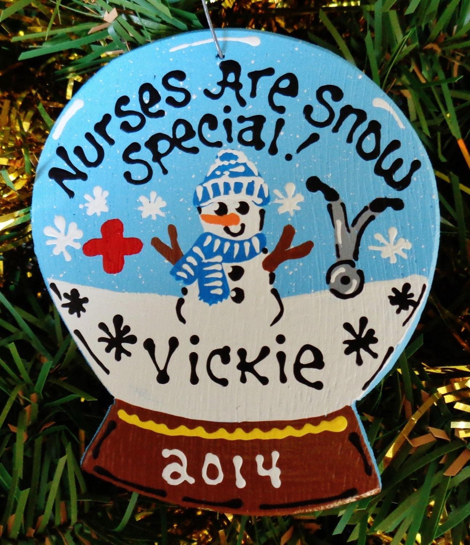 U Choose Name & Date Personalized Wooden Snow Globe NURSE