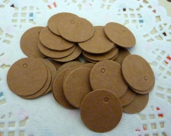 50 Kraft Paper Round Jewellery Price Tag Gift Tags for Crafts 2cm