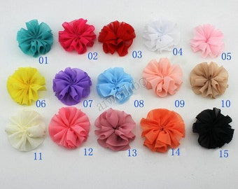 10 pcs 2.3 inch Chiffon Flower , Fabric Flower For Hair Accessories