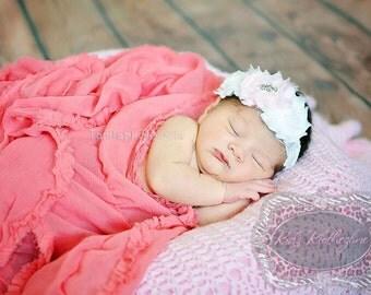 Headband Wide White Lace 3 Flower Headband with Rhinestone Center Newborn Photo Prop