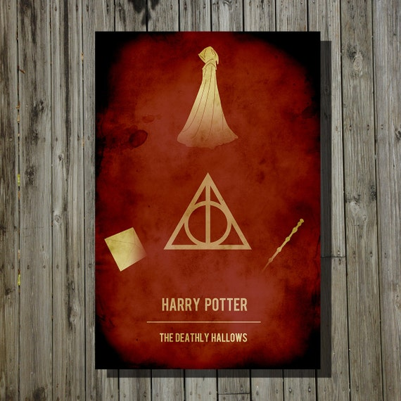 Harry potter deathly hallows print movie poster minimalist for Sci fi home decor
