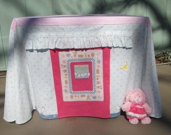 Card table playhouse, pink print with bunny