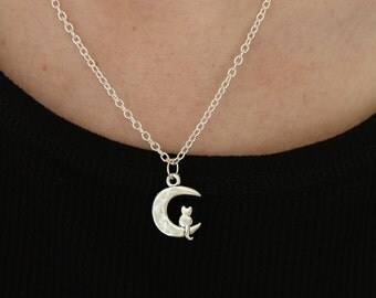 Kitty and Moon silver necklace
