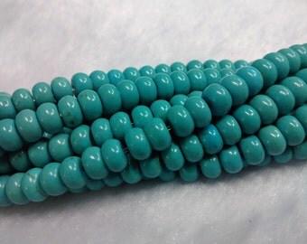 "Flat Turquoise Bead Flat Rondelle beads 8x5mm Aqua Green Turquoise Beads Supply Gemstone Jewelry making 16""/ full strand"