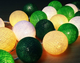 Green Light :20 mixed DarkGreen Green Cream White Cotton Ball String Lights
