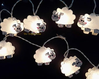 Sheep 20 Mixed  Mulberry paper String Lights Fairy lights Party Decor Wedding