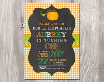 Fall Birthday Invitation - Pumpkin Birthday Invitation - Printable Fall Invitation - Printable Pumpkin Invitation - Pumpkin Fall Birthday