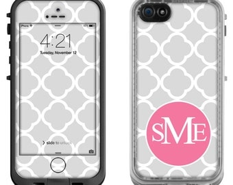 Gray Moroccan Pink Monogram - Lifeproof iPhone 6 Fre, LifeProof iPhone 5 5S 5C Fre Nuud, Lifeproof iPhone 4 4S Fre Case Decal Skin Cover