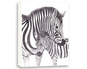 Zebra Canvas - Watercolor Nursery Art - Safari Animals Nursery - Baby Nursery Decor - PRINT