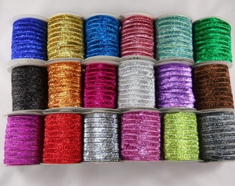 36yards 3/8 Sparkle Glitter Ribbon (Shimmer Metallic) 18 solid Colors Mixed