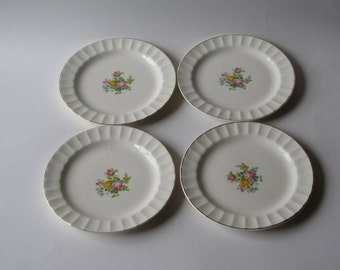 Set of Four Vintage Pink and Yellow Rose Gold Rimmed Plates