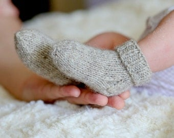 MADE TO ORDER/ Hand knitted baby socks/ Sheep wool