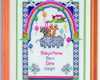 Two By Two Noahs Ark Baby Cross Stitch Birth Sampler Kit