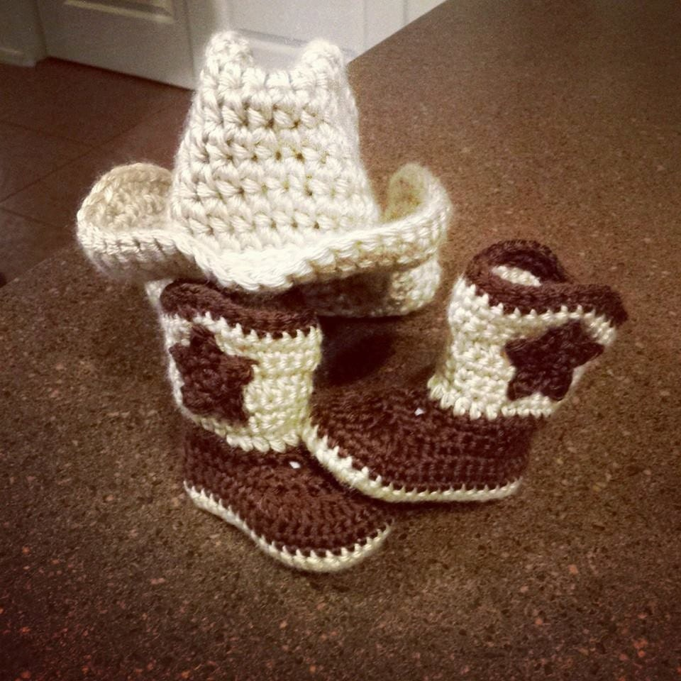 Crochet Pattern For Cowboy Hat And Boots : baby crochet cowboy boots crochet cowboy hat by QuteeAsAButton