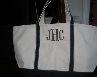 Large Monogrammed Boat Tote