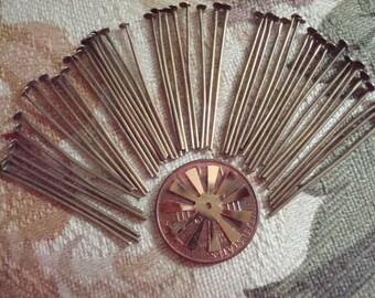 Quality Antique Bronze Headpins 30x 0.8mm  50pcs