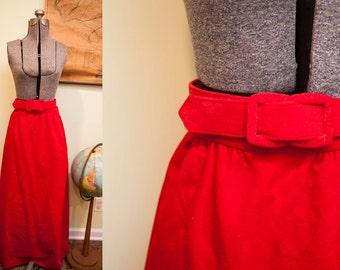 Vintage 60s Mod Nelly de Grab Red Velvet Maxi Skirt with Belt