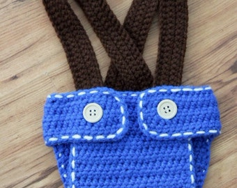 Crochet Jean Diaper Cover with Suspenders