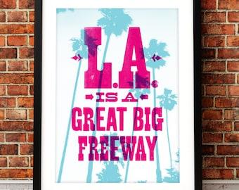 Dionne Warwick art print, song lyric art, music inspired print, typographic print, L.A. is a great big freeway, song lyric print