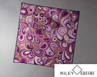 Purple and Gold Contemporary Swirl Pocket Square/Fashion Handkerchief