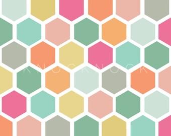 Geometric Honeycomb Print - Digital Paper - Scrapbooking