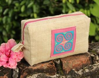 Handmade Natural Hemp Hmong Applique Cosmetics Bag