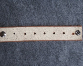White Leather Wristband