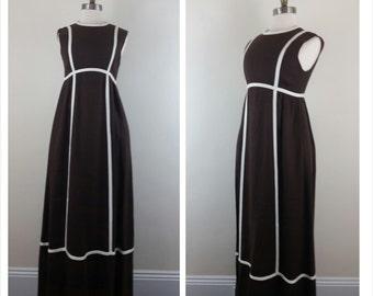 60s Mod Dress Brown Sleeveless Maxi XS/S